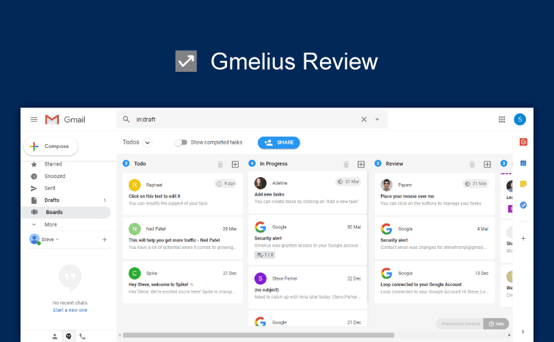 Gmelius Review, Gmail add-on, Kanban in Gmail, Productivity Land, ProductivityLand, Shared Inbox Gmail